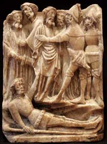 English alabaster depicting the betrayal of Christ at the LAPADA Art & Antiques Fair Berkeley Square